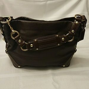 Coach leather chocolate brown bag